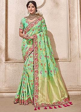09ae19bc80dfed Mint Green Art Benarasi Silk Saree doodle