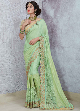 Mint Green Art Silk Brasso Saree