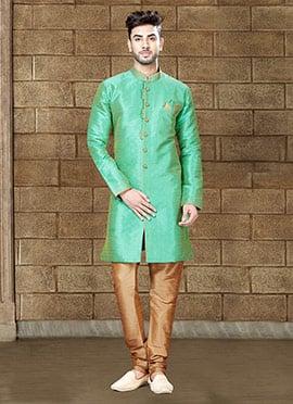 Mint Green Art Silk Indowestern Sherwani
