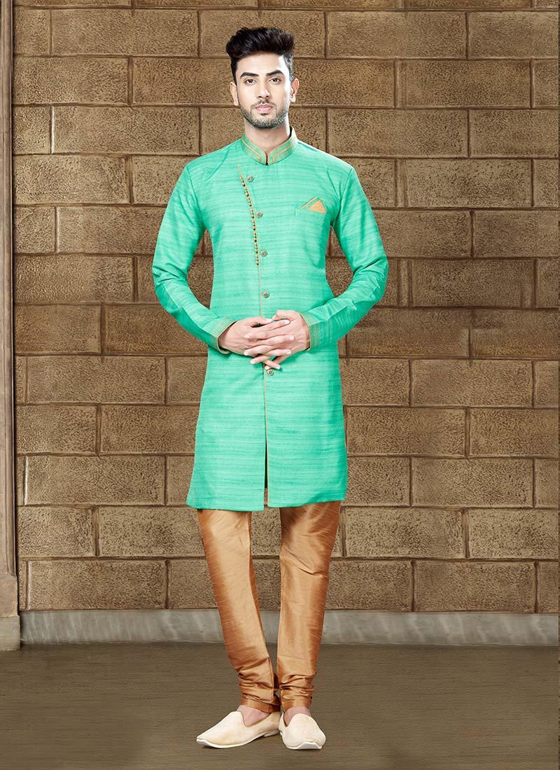Buy Mint Green Art Silk Indowestern Sherwani, Eid , Party Wear ...