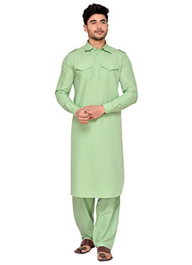 Mint Green Art Silk Pathani Set