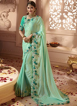 Mint Green Embroidered Border Saree