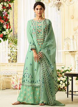 97d57d8ac8 Ethnic fashion online - Green Muslin Women Clothing Salwar Kameez