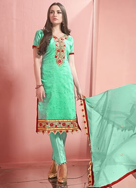 Mint Green Embroidered Straight Pant Suit
