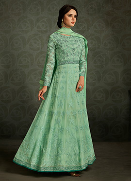 Mint Green Georgette Abaya Style Anarkali Suit