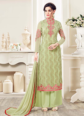 Mint Green Georgette Palazzo Suit