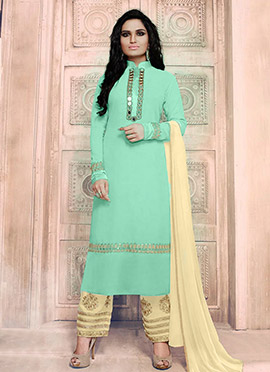 Mint Green Georgette Straight Pant Suit