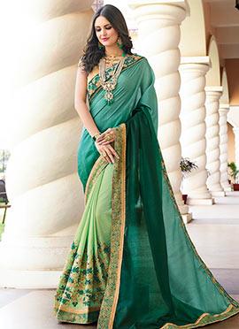 Mint Green N Dark Green Embroidered Half N Half Saree