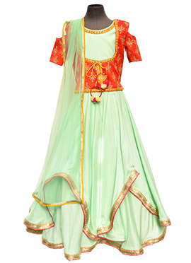 Fayon Mint Green N Red Anarkali Kids Dress