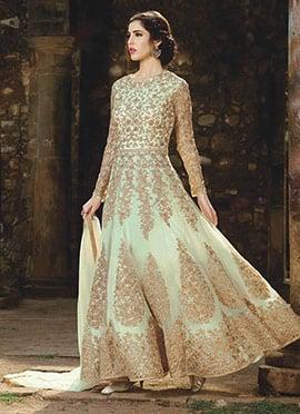 Mint Green Net Abaya Style Anarkali Suit