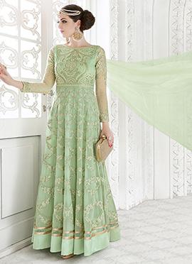 Mint Green Net Georgette Umbrell Lehenga