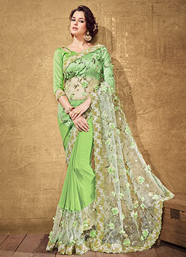 Mint Green Net N Georgette Saree