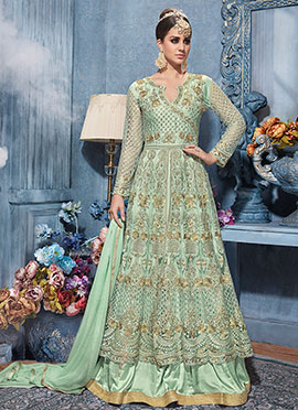 Mint Green Net Umbrella Lehenga