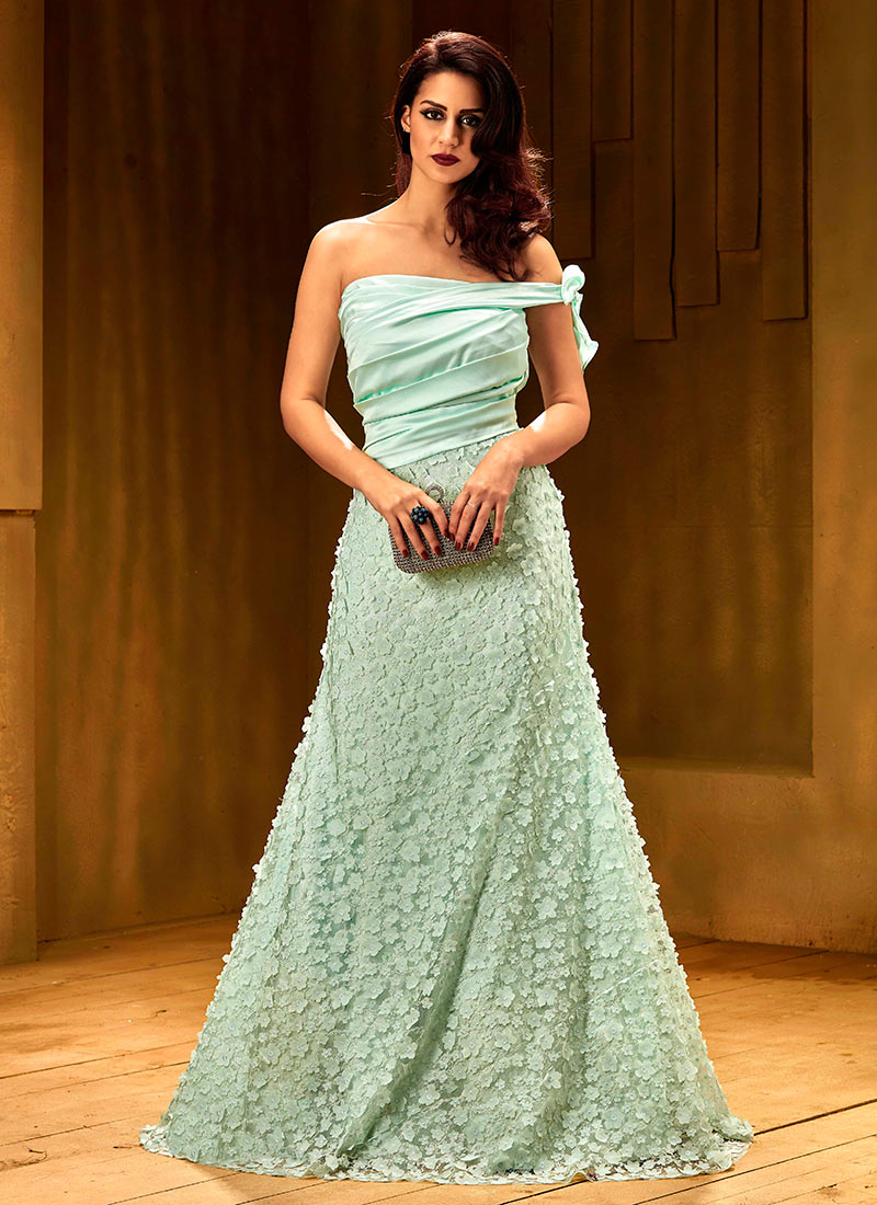 Buy Mint Green Off Shoulder Anarkali Gown, Beads , Patch Work ...