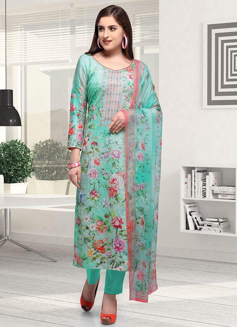 Buy Mint Green Printed Straight Pant Suit, Printed , Embroidered ...