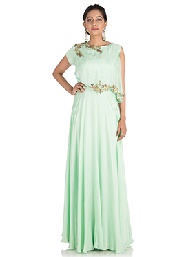 Mint Green Satin Gown