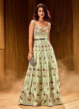 Mint Green Sleeveless Anarkali Gown