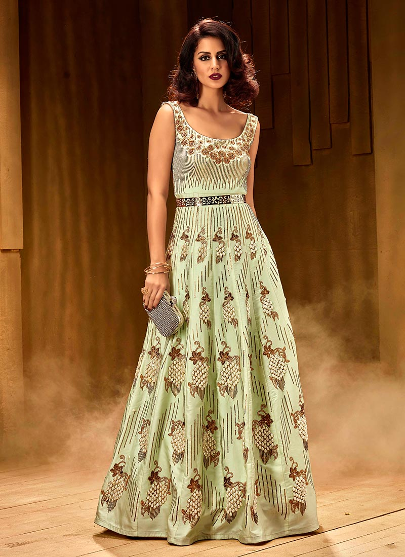 Buy Mint Green Sleeveless Anarkali Gown Beads Embroidered