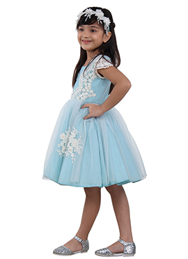 Mint Blue Tafetta N Net Kids Dress