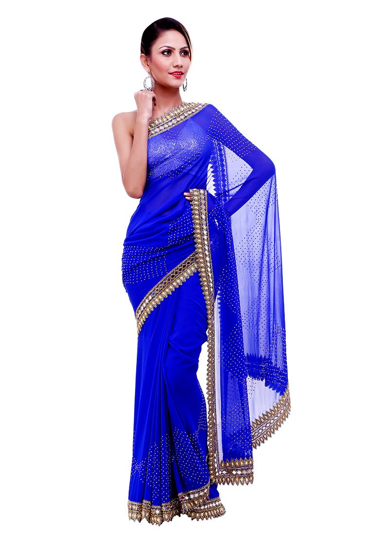 Buy mirror work n stones blue saree stones mirror work for Mirror work saree