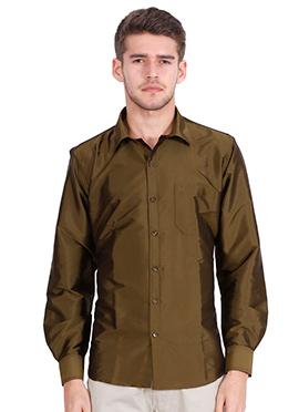 Moss Green Art Silk Shirt