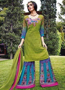 Moss Green Cotton N Jacquard Palazzo Suit
