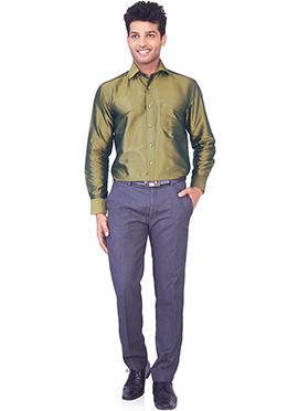 Moss Green Pure Silk Classic Shirt