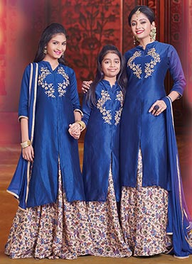 Mother N Daughter Combo Long Choli A Line Lehenga