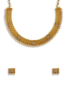 Moti Decked Dark Golden Color Necklace Set