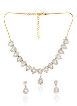Moti N Stone Decked Floral Style Necklace Set
