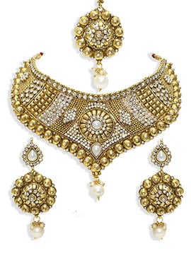 Moti N Stone Ornate Necklace Set