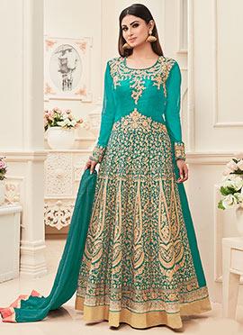 Mouni Roy Aqua Blue Abaya Style Anarkali Suit