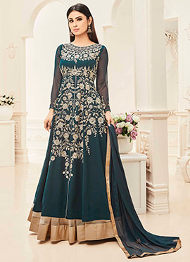 Mouni Roy Teal Green Cape Style Anarkali Suit