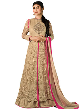 Mouni Roy Beige Long Choli Lehenga