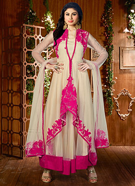 Mouni Roy Beige N Pink Layered Anarkali Suit