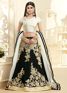 Mouni Roy Black Georgette A Line Lehenga Choli
