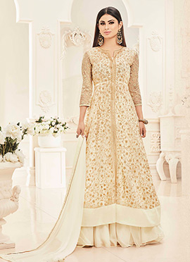 Mouni Roy Cream Georgette Anarkali Lehenga