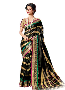 Mouni Roy Black N Golden Cotton Saree