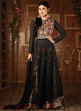 Mouni Roy Black Side Slit Georgette Palazzo Suit