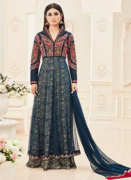 Mouni Roy Blue Abaya Style Layered Anarkali Suit