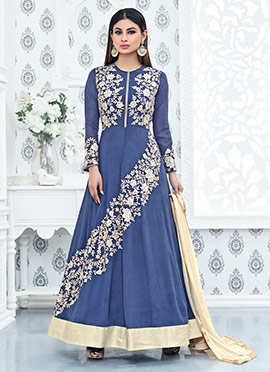 Mouni Roy Blue Anarkali Suit