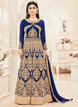 Mouni Roy Blue Art Silk Anarkali Suit