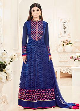 Mouni Roy Blue Net Anarkali Suit