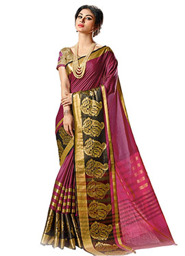 Mouni Roy Cotton Purple Saree