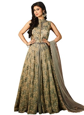 Mouni Roy Grey Anarkali Suit