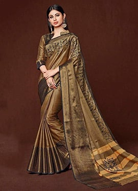 Mouni Roy Golden Beige Art Silk Cotton Saree
