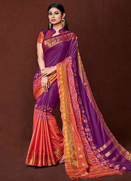 Mouni Roy Golden Purple Art Silk Cotton Saree