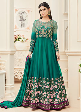Mouni Roy Green Abaya Style Anarkali Suit