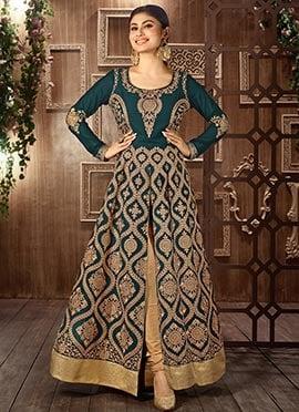 Mouni Roy Green Center Slit Anarkali Suit