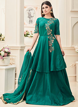 Mouni Roy Green Art Silk Anarkali Suit